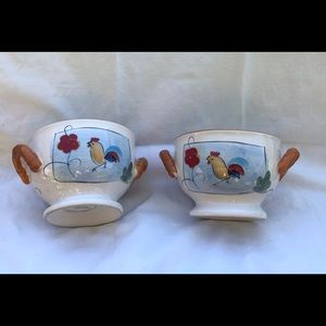 Two Pantry California Ceramics Chicken Soup Bowls